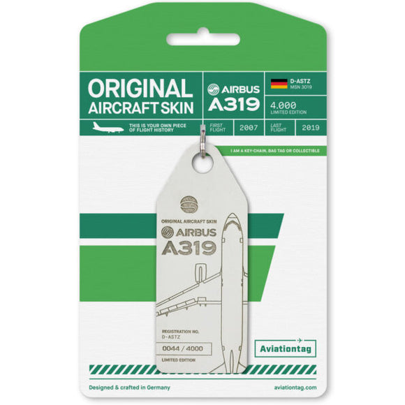 Aviationtag Germania Airlines A319 Aircraft Skin Tag in white colour with packaging - Aircraft Registration D-ASTZ