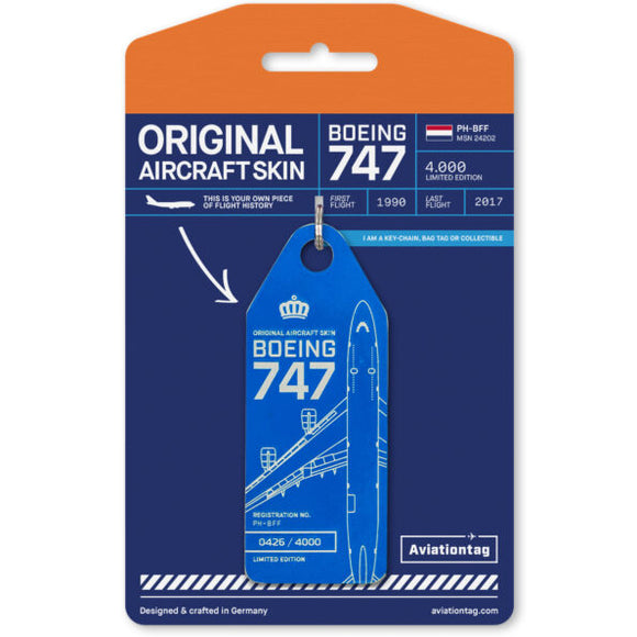 Aviationtag KLM B747 Aircraft Skin Tag in dark blue colour with packaging - Aircraft Registration PH-BFF