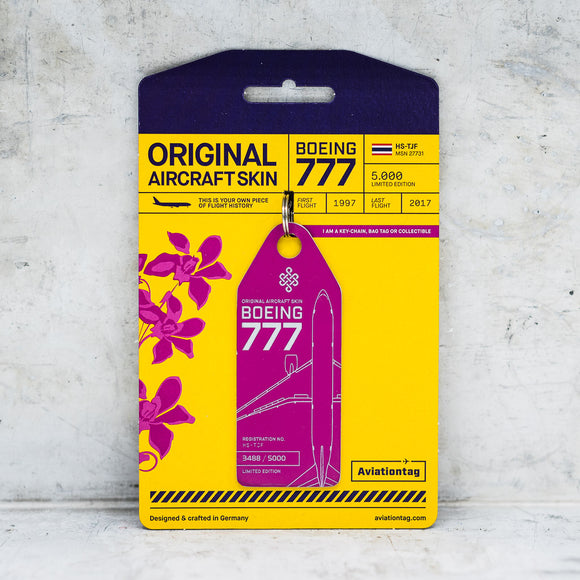 Aviationtag Thai Airways B777 Aircraft Skin Tag in pink colour with packaging - Aircraft Registration HS-TJF