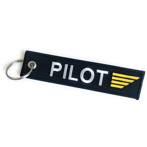Pilot Keychain - Luggage Tag with Gold Wings | Aviamart