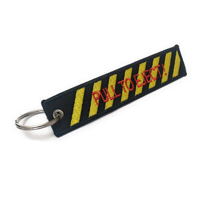Pull To Eject Keychain | Luggage Tag | Black / Yellow | Aviamart