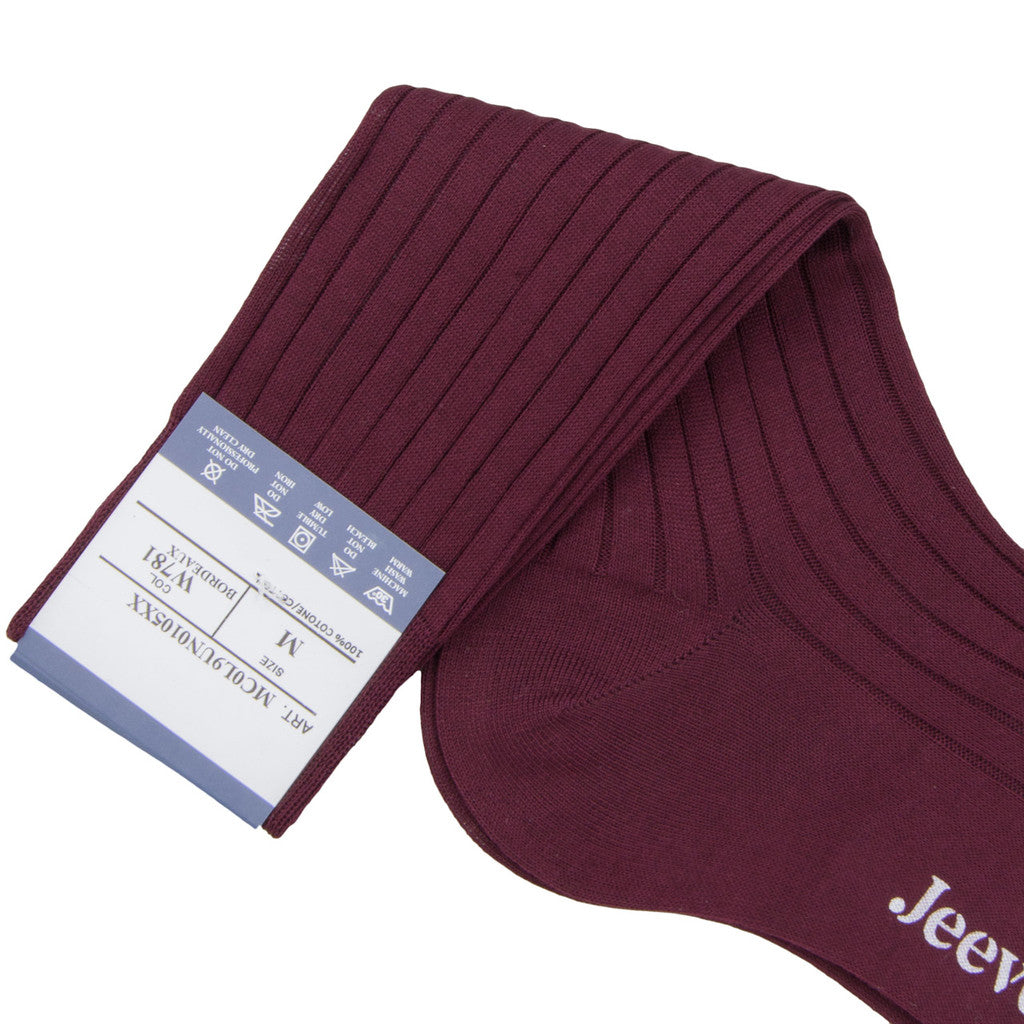Bresciani Ankle Length Cotton Socks - Bordeaux