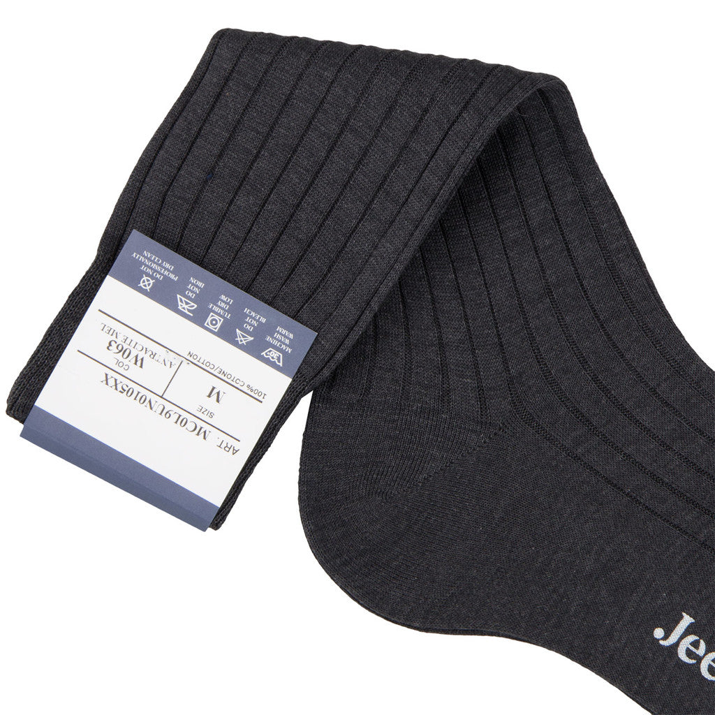 Bresciani Ankle Length Cotton Socks - Dark Grey