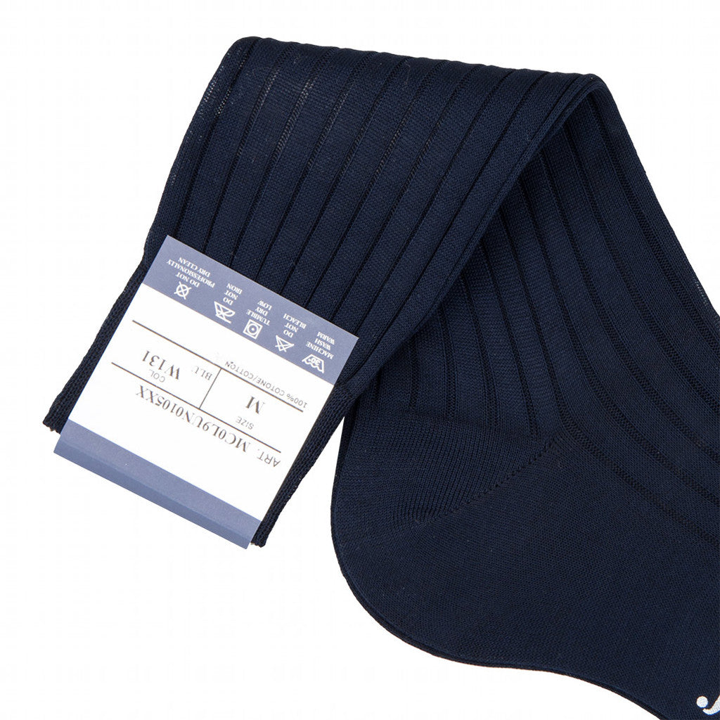 Bresciani Ankle Length Cotton Socks - Navy