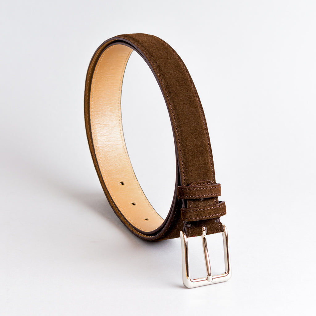 Jeeves Dark Brown Suede Leather Belt 35mm