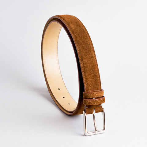 Jeeves Mid Brown Suede Leather Belt 35mm