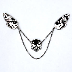 Silver Death's head moth- Enamel Pin collar jewelry