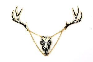 Deer Skull with Antlers Collar Pins