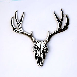 Deer Skul with Antlers Enamel Pin- Button Cover