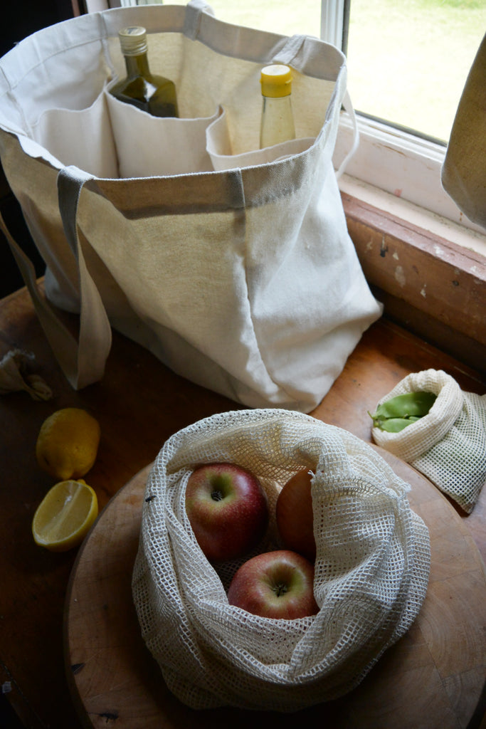 Organic cotton shopping bag set, mesh, string canvas with pockets eco friendly Seed and Sprout