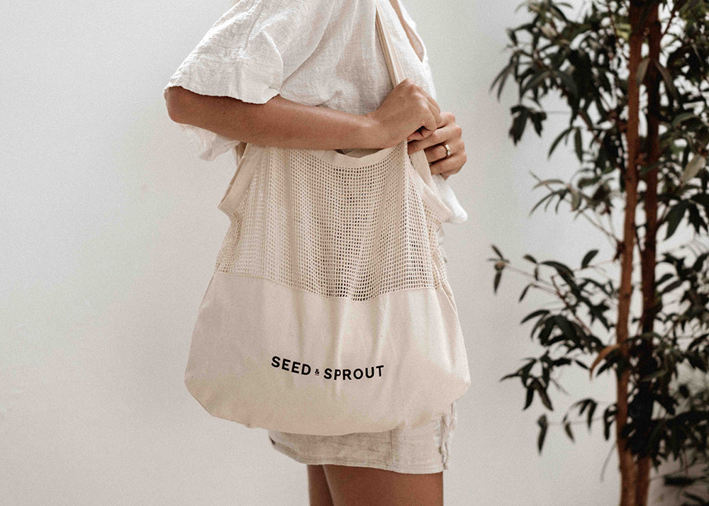 organic cotton shopping mesh and canvas bag