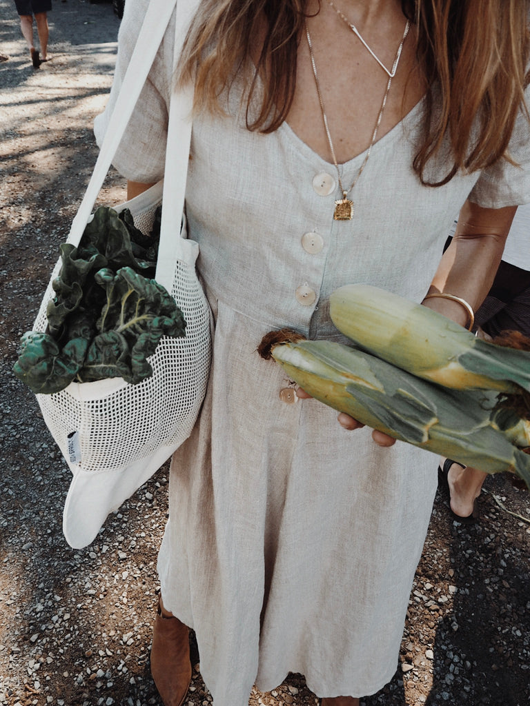 Organic Cotton Farmers Market shopping bag string mesh and canvas by seed and sprout Byron bay farmers market