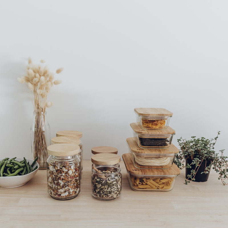 Glass food containers with bamboo lids