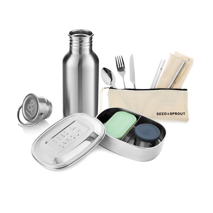 This bundle is designed to eliminate the need (and the guilt) of plastic containers, bottles and utensils.Perfect for people on the go, this bundle will cover all your zero-waste bases.
