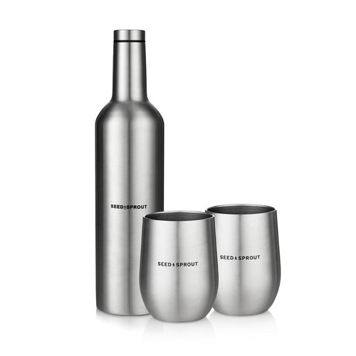 Perfect for an eco friendly picnic. Stainless steel insulated wine bottle and 2 tumblers set.