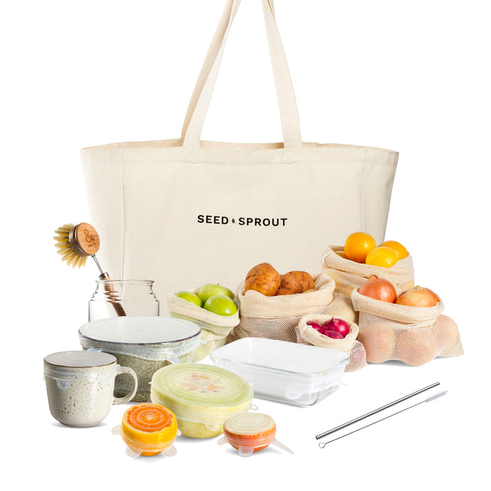 This bundle has everything you need to get going on your eco journey; the perfect shopping bag, a set of stretch lids (see ya, cling wrap), a reusable straw, a plant fibre dish scrubber and 5 sexy mesh produce bags.Saves you $32 on the full price and saves you from relying on plastic for shopping and keeping food fresh.