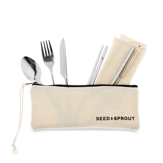 Say no to disposable cutlery when you are out and about with this 9-piece set, which includes:  lightweight travel knife, spoon, fork, chopsticks Stainless Steel straw, vegan natural-fibre straw cleaner 1 x organic cotton napkins organic cotton pouch with wrist strap. Send all that plastic cutlery to forking hell!