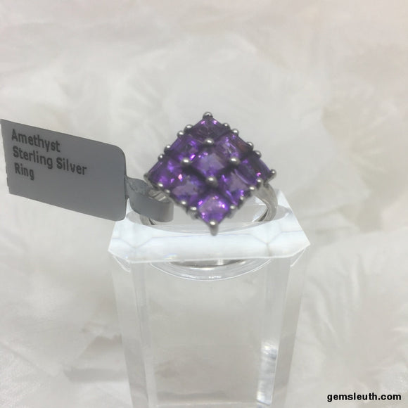 Size 9 (UK R-S) Amethyst, Sterling Silver Ring tgw, 2.88 cts