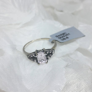 Size 9 (UK R-S), Kunzite and Morganite, 925 Silver Ring tgw, 1.51 cts (+ ring size adjuster)