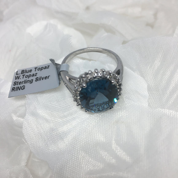 Size 9, London Blue Topaz and White Topaz, Sterling Silver Ring tgw, 8.76 cts (with FREE ring size adjuster)