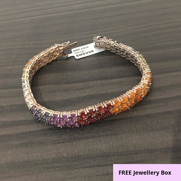 Gemporia, Multi-Coloured Tourmaline, Sterling Silver Bracelet, 7.5
