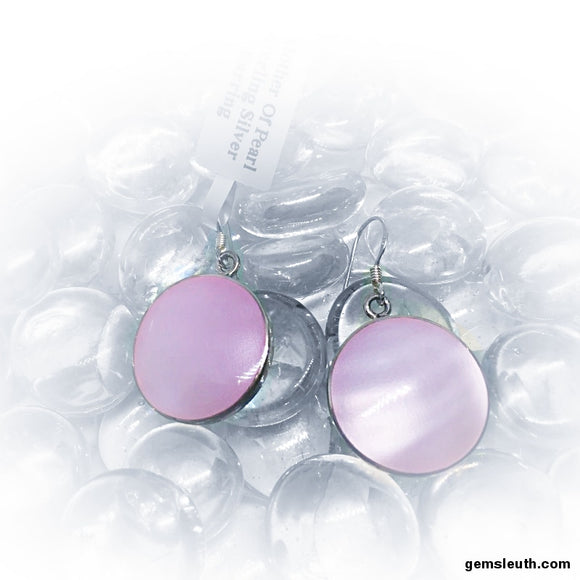 Pink Mother of Pearl, Sterling Silver Earrings