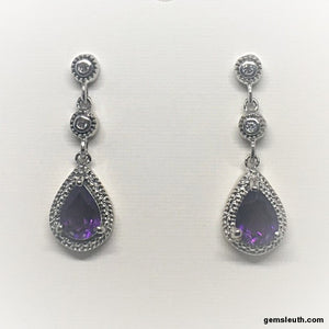 Amethyst and White Zircon, Sterling Silver Earring tgw, 1.88 cts