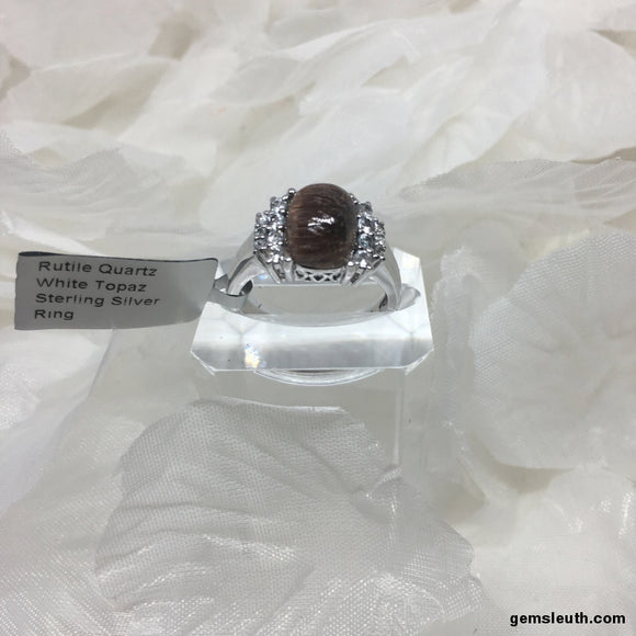Size 9, Rutile Quartz and White Topaz, Sterling Silver Ring tgw, 4.25 cts (with FREE ring size adjuster)
