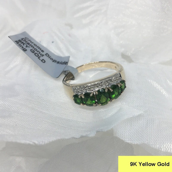 Size 9 (UK R-S), Chrome Diopside & Diamond, 9K 375 Gold Ring tgw, 1.55 cts (+ ring size adjuster)