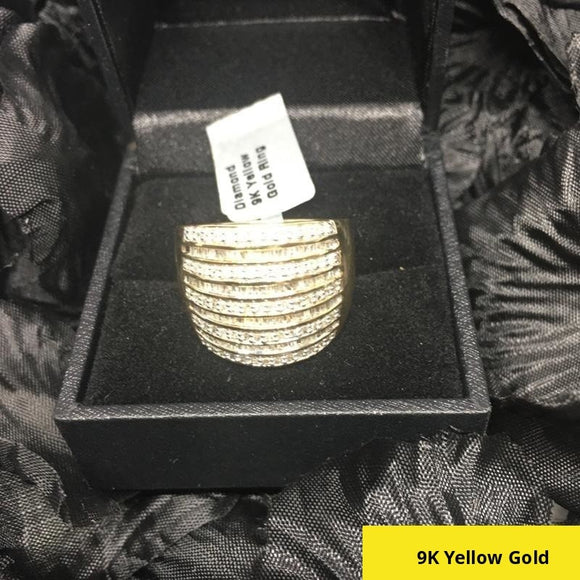 1 Carat Diamond, 9k 375 Yellow Gold Ring tgw, Size R-S, 5 gms