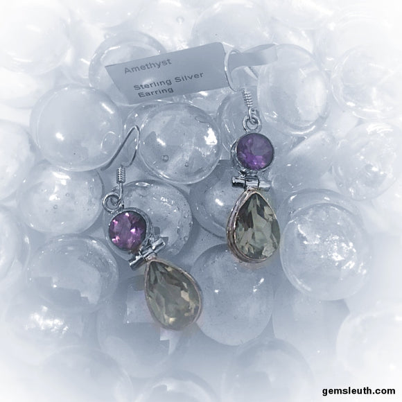 Amethyst, Sterling Silver Earrings tgw, 6.9 cts
