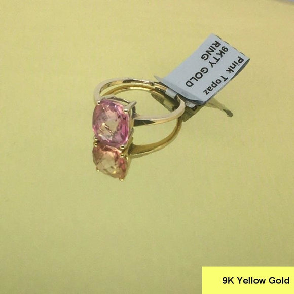Size 9 (UK R-S), Mystic Pink Topaz, 9K 375 Yellow Gold Ring tgw, 4.91 cts (+ ring size adjuster)