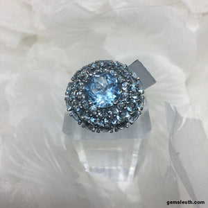 Size 9, Sky Blue Topaz, Sterling Silver Ring tgw, 12.5 cts (with FREE ring size adjuster)