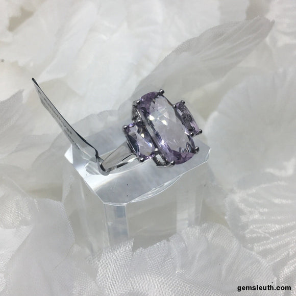 6 Carat Pink Amethyst, Sterling Silver Ring, Size R-S