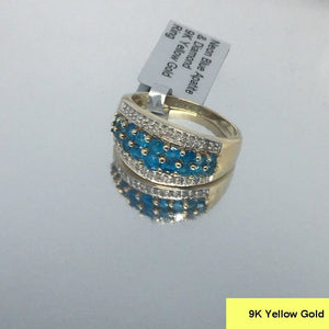 Size 9 (UK R-S), Neon Blue Apatite & Diamond, 9K 375 Yellow Gold Ring tgw, 1.28 cts (+ ring size adjuster)
