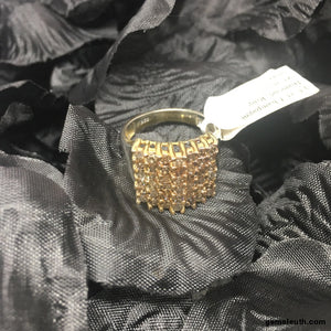 Size 8 (UK P-Q), Champagne Diamond, Gold Plated Sterling Silver Ring tgw, 1.50 cts