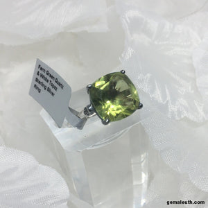 Size 9, Fern Green Quartz and White Topaz, Sterling Silver Ring tgw, 6.25 cts (with FREE ring size adjuster)