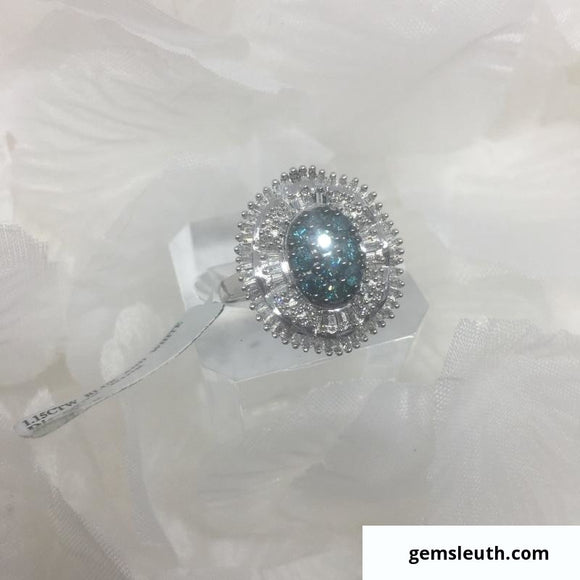 Size 8, White and Blue Diamond, Sterling Silver Ring tgw, 1.17 cts (+ring size adjuster)