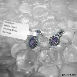 Amethyst and White Topaz, Sterling Silver Earrings tgw, 1.64 cts