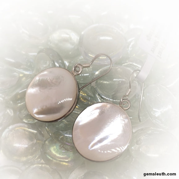 White Mother of Pearl, Sterling Silver Earrings