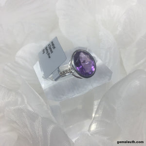 Size N-O, Amethyst and Diamond, Sterling Silver Ring tgw, 2.23 cts (with FREE ring size adjuster)