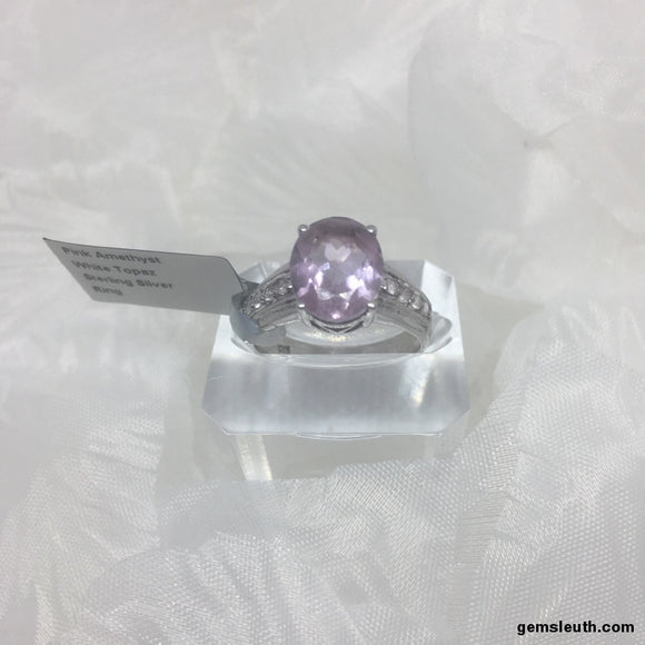 3 Carat Pink Amethyst and White Topaz, Sterling Silver Ring, Size R-S)