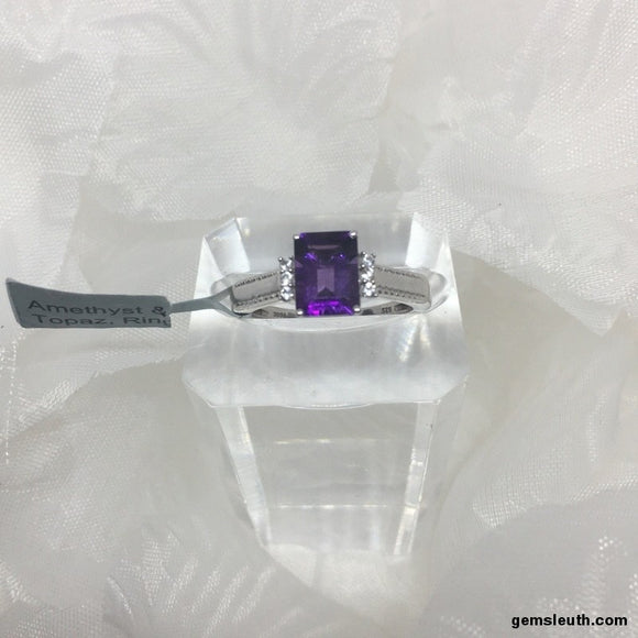Amethyst and White Topaz, Sterling Silver Ring tgw, 1.52 cts, Size N-O