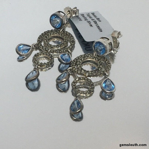 Swiss Blue Topaz and Marcasite, Gold Plated, Sterling Silver Earrings
