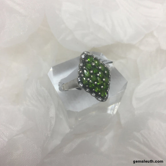 Size 9 (UK R-S), Chrome Diopside and White Topaz, Sterling Silver Ring