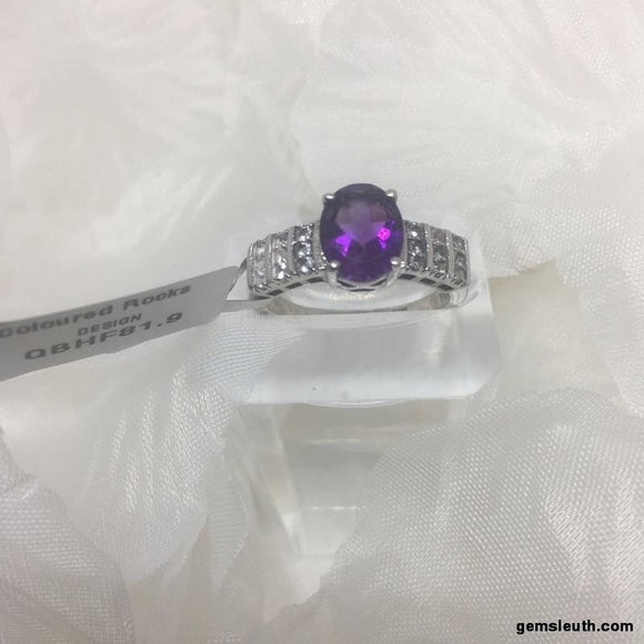 Size R-S, Amethyst and White Topaz, Sterling Silver Ring tgw, 1.93 cts (with FREE ring size adjuster)