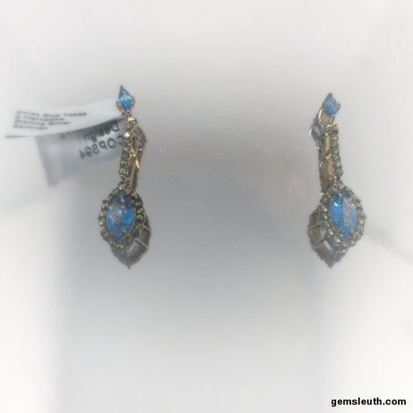 Swiss Blue Topaz and Marcasite, Gold Plated, Sterling Silver Earrings tgw, 3.03 cts