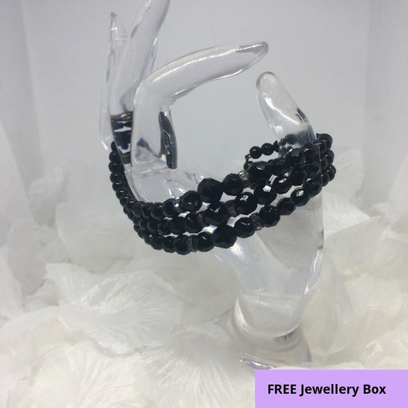 A Beautiful Vintage 3-Row Faceted Jet Black Glass Beaded Cuff Wrap Bracelet