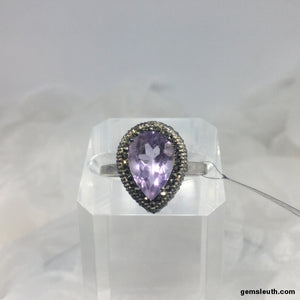 3 Carat Pink Amethyst and Marcasite, Sterling Silver Ring, Size R-S