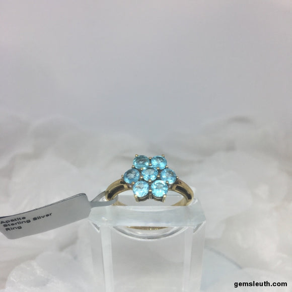 Size 9 (UK R-S), Apatite, Gold Plated Sterling Silver Ring tgw, 1.88 cts (+ ring size adjuster)